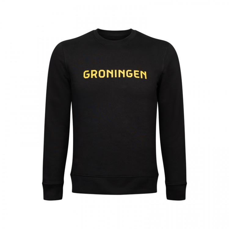"""Sweater """"Groningen"""" opdruk geel"""