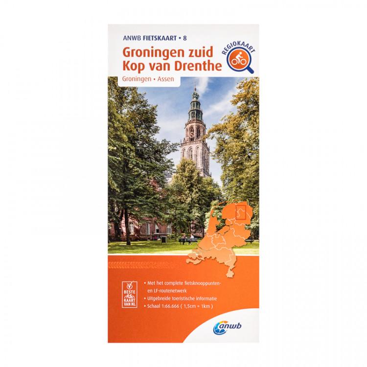 """ANWB fietskaart 8 """"Groningen zuid, Kop van Drenthe"""""""