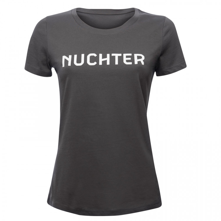 """T-shirt """"Nuchter"""" dames ( grijs)"""