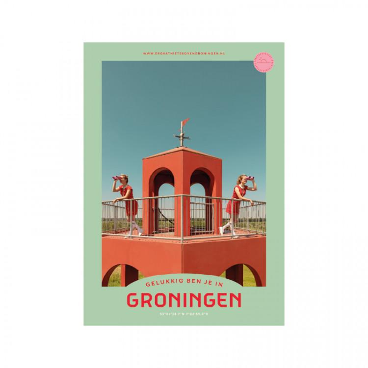 """Poster """"Reiderwolde Uitkijk"""" Gelukkig ben je in Groningen"""