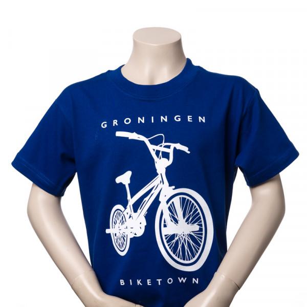 Kindershirt Groningen Crossfiets blauw