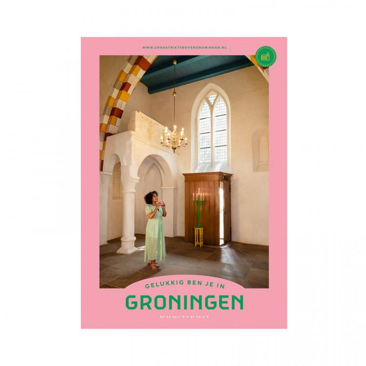 """Poster """"Leermens Kerk"""" Gelukkig ben je in Groningen"""