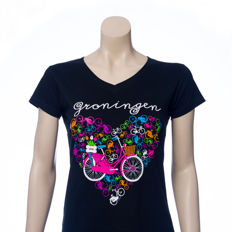 Dames T-shirt BIke Heart Zwart