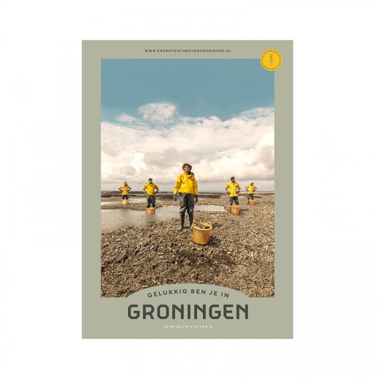 """Poster """"Wad"""" Gelukkig ben je in Groningen"""