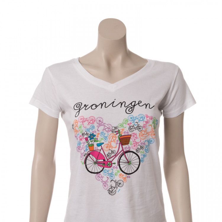 Dames T-shirt Bike Heart wit